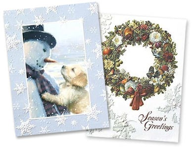 Embossed Christmas Cards and Holiday Greetings from LeaninTree.com