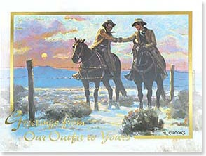 Premier Christmas Cards: Cowboys shaking hands over fence
